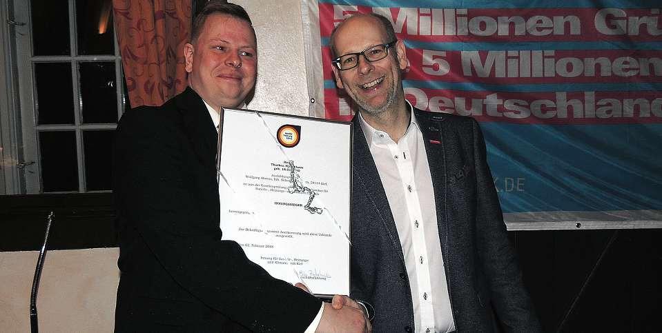Als Innungssieger wurde Thorben Hjordthuus von der Firma W. Ahrens aus Kiel ausgezeichnet.